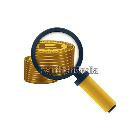 gold colored bitcoins stack and magnifying