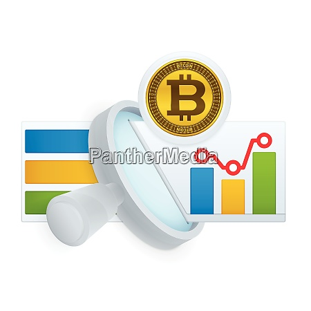 magnifying glass and bitcoin symbol market