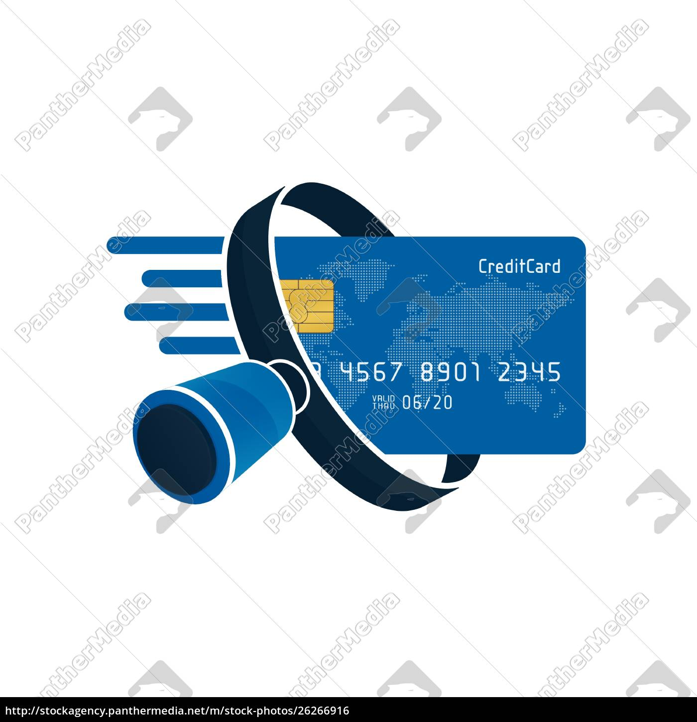 blue, credit, card, and, black, magnifying - 26266916