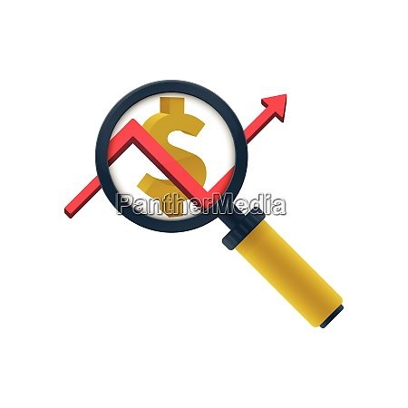 gold colored magnifying glass icon graph