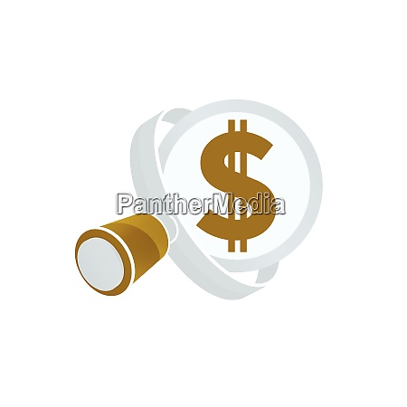 white magnifying glass gold colored dollar