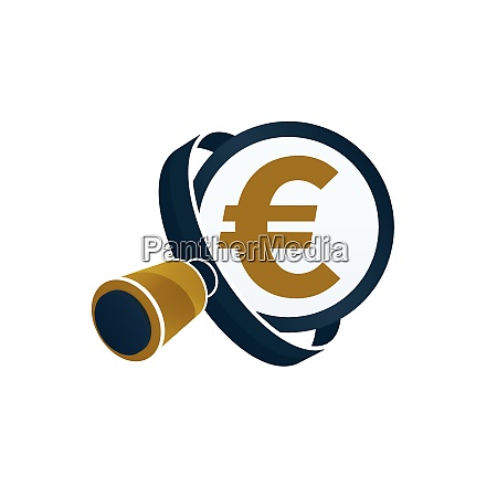 black magnifying glass gold colored euro