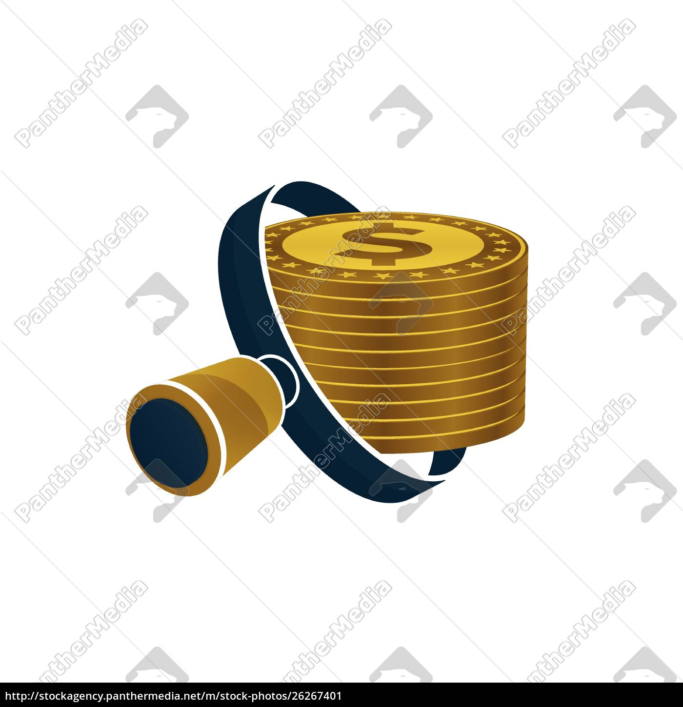 black, magnifying, glass, , gold, colored, dollars - 26267401