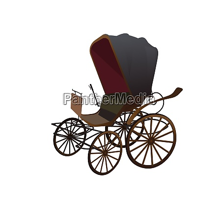 old wagon for the horses isolated