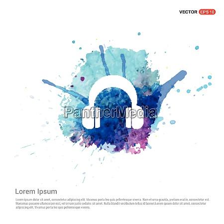 headphone icon watercolor background