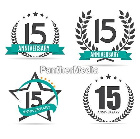 template logo 15 years anniversary set