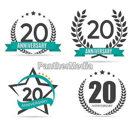 template logo 20 years anniversary set
