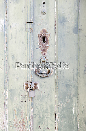 closed wooden door with decoration