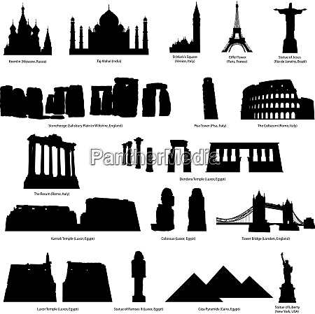 high detail landmarks silhouette set with