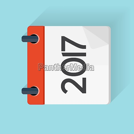 2017 calendar flat daily icon vector