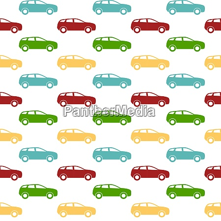 seamless pattern colorful car silhouette vector