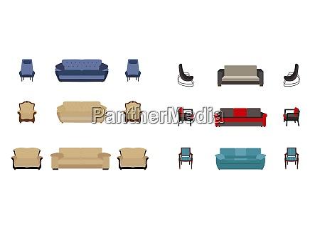 set of furniture modern flat style