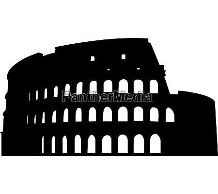 roman coliseum silhouette vector illustration for