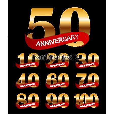 template logo anniversary collection set vector