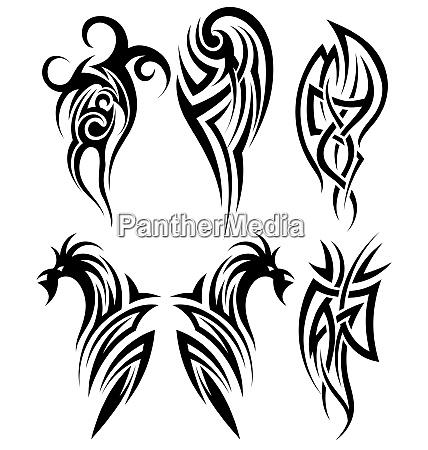 set di tatuaggi tribali illustrazione vettoriale