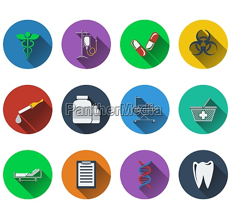 set of medical icons in flat
