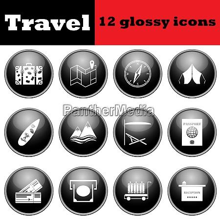 set of travel glossy icons eps