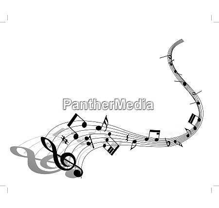 musical note staff eps 10 vector