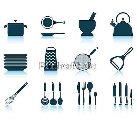 set kitchen utensil icon eps 10