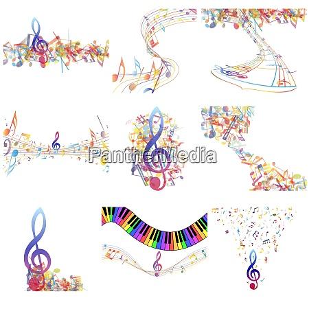multicolour musical notes staff set