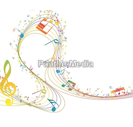 musical key with notes row illustration