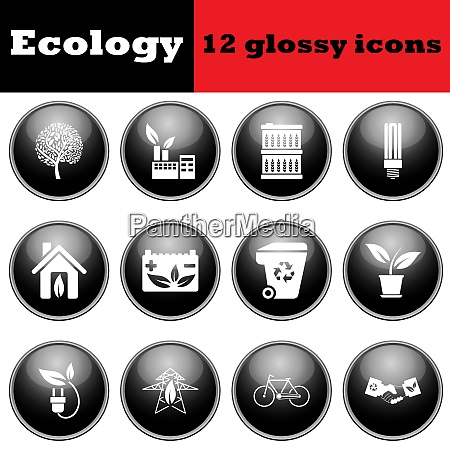 set of ecological glossy icons eps