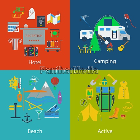 set of travel camping and active