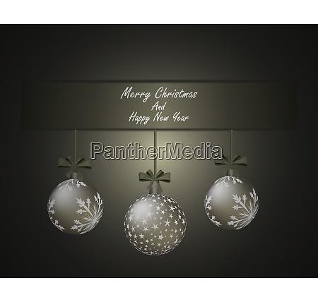 elegant christmas greeting card with ribbon