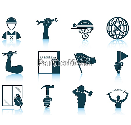 set of twelve labour day icons