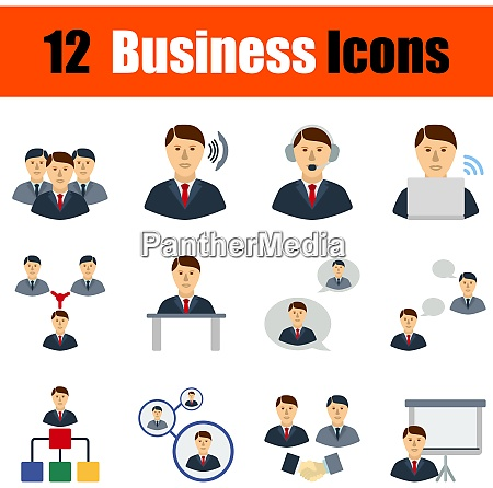 flat design business icon set in