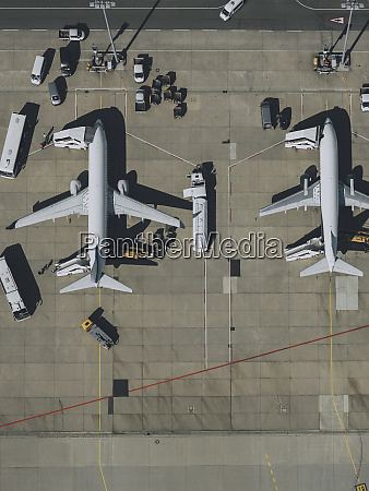 view from above commercial airplanes being
