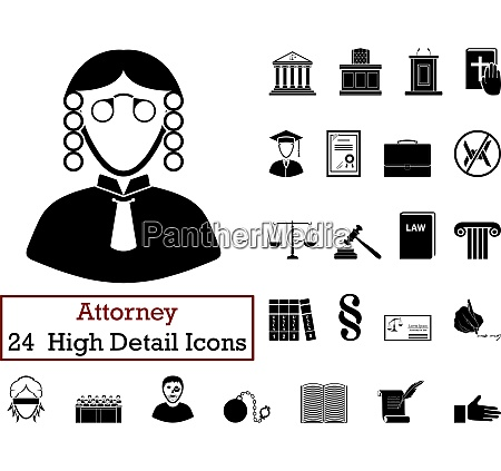 set of 24 attorney icons set