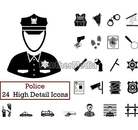 set of 24 police icons set