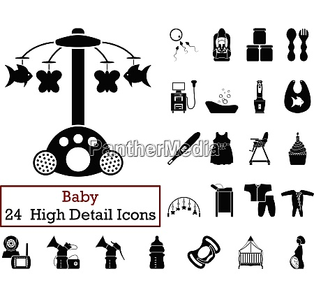 set of 24 baby icons in
