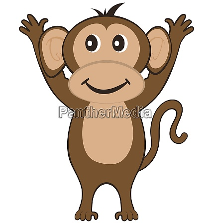 funny cartoon character monkey with smile