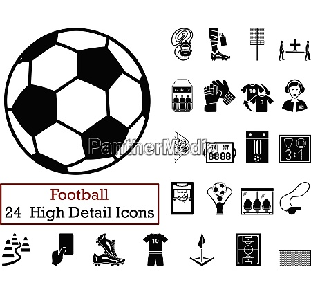 set of 24 football icons in