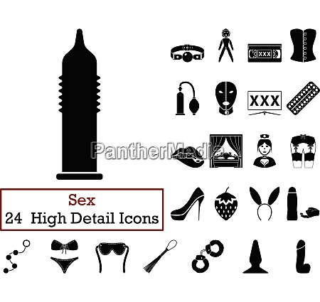 set of 24 sex icons in