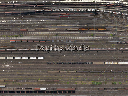 aerial view trains at shunting yard