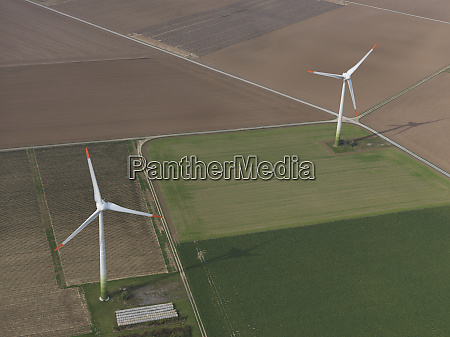 aerial view wind turbines in agricultural