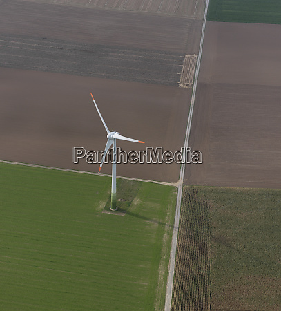 aerial view wind turbine in agricultural