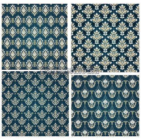 damask seamless vector pattern set