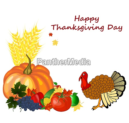 thanksgiving day greeting card design consist