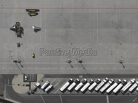 aerial view service vehicles parked on