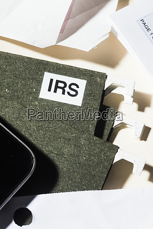 close up irs taxes file and