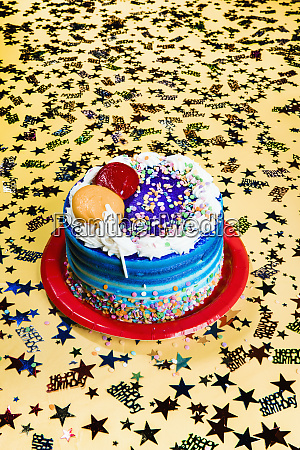 still life birthday cake and star