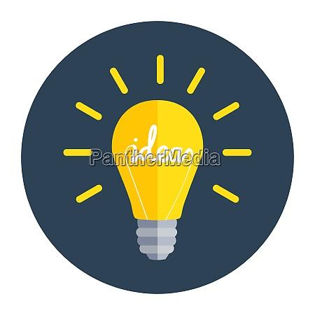 idea bulb flat design icon vector