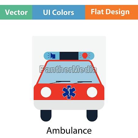 ambulance car icon flat color design