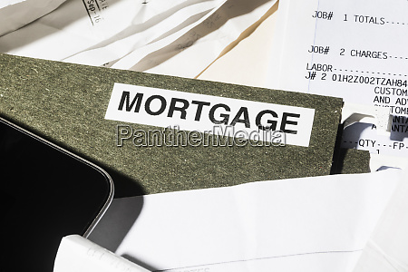 close up mortgage file and finance