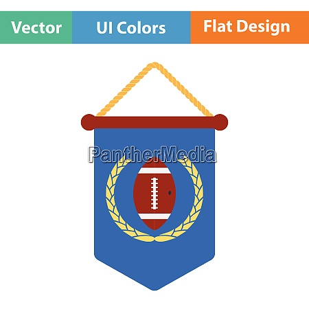 american football pennant icon flat color