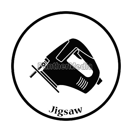 icon of jigsaw icon thin circle